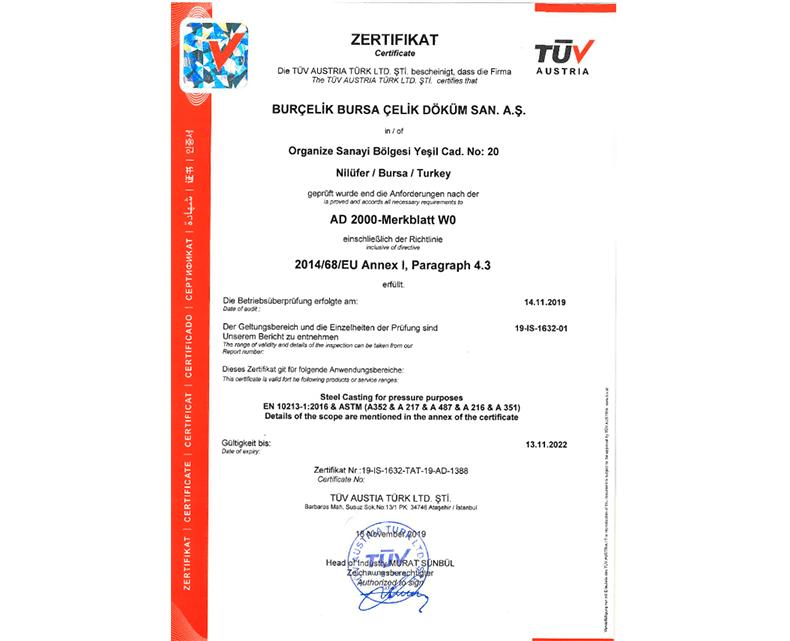 AD2000  & PED Sertifikası